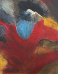 Figurativt maleri kunst af Charlotte Tønder - Angry bird