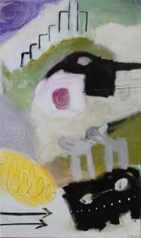 Abstrakt maleri kunst af Charlotte Tønder - Animal on the loose