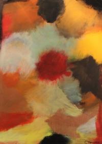 Abstrakt maleri kunst af Charlotte Tønder - Fireball
