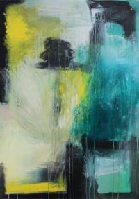 Abstrakt maleri kunst af Charlotte Tønder - Blue hat