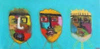 Naivistisk maleri kunst af Charlotte Tønder - 3 kings