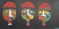 Naivistisk maleri kunst af Charlotte Tønder - Ballooned