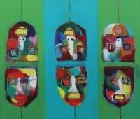 Naivistisk maleri kunst af Charlotte Tønder - Ups and downs