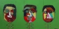 Naivistisk maleri kunst af Charlotte Tønder - Grønne Hoveder