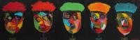 Naivistisk maleri kunst af Charlotte Tønder - Funky faces