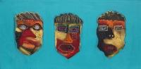 Naivistisk maleri kunst af Charlotte Tønder -  Maskerade