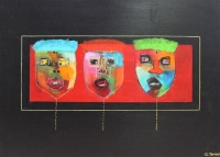Naivistisk maleri kunst af Charlotte Tønder - Misk mask