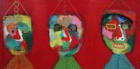Naivistisk maleri kunst af Charlotte Tønder - Red fun