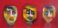 Naivistisk maleri kunst af Charlotte Tønder - Røde hoveder