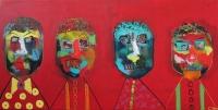 Naivistisk maleri kunst af Charlotte Tønder - Sadness in red
