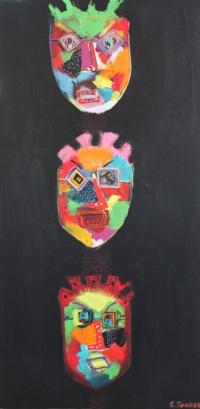 Naivistisk maleri kunst af Charlotte Tønder - 3 sorte hoveder