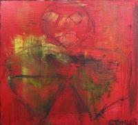 Figurativt maleri kunst af Charlotte Tønder - Smoking bitch