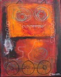 vt maleri kunst af Charlotte Tønder - Fun på hjul