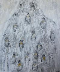 Figurativt maleri kunst af Charlotte Tønder - Pinguins march